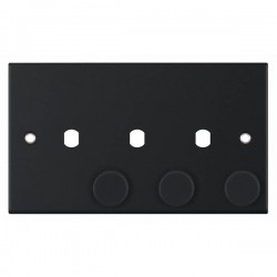 Selectric 5M Matt Black 2 Gang Triple Aperture Dimmer Plate with Matching Knobs