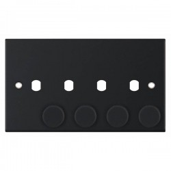 Selectric 5M Matt Black 2 Gang Quad Aperture Dimmer Plate with Matching Knobs