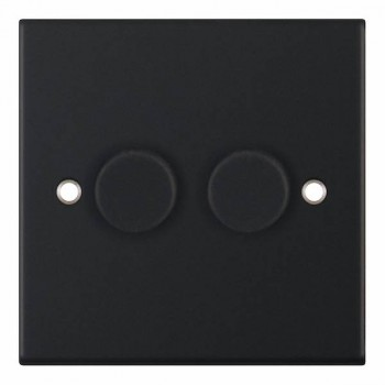Selectric 5M Matt Black 2 Gang 400W 2 Way Dimmer Switch