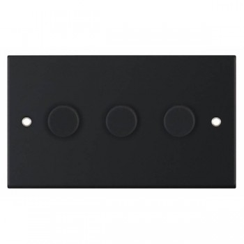 Selectric 5M Matt Black 3 Gang 400W 2 Way Dimmer Switch
