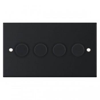 Selectric 5M Matt Black 4 Gang 400W 2 Way Dimmer Switch