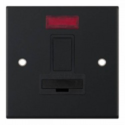 Selectric 5M Matt Black 13A DP Switched Fused Connection Unit with Neon and Black Insert