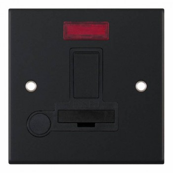 Selectric 5M Matt Black 13A DP Switched Fused Connection Unit with Flex Outlet, Neon, and Black Insert