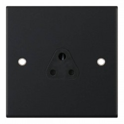 Selectric 5M Matt Black 1 Gang 2A Round Pin Socket with Black Insert