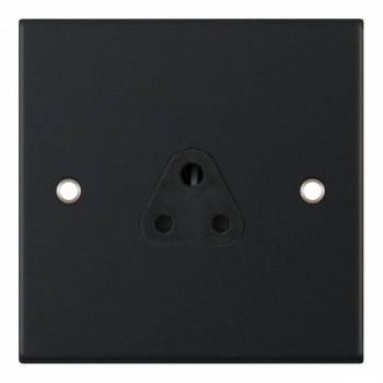 Selectric 5M Matt Black 1 Gang 2A Round Pin Socket with Black Insert