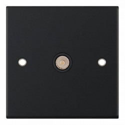 Selectric 5M Matt Black 1 Gang TV Socket with Black Insert