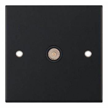 Selectric 5M Matt Black 1 Gang TV Socket with Black Insert