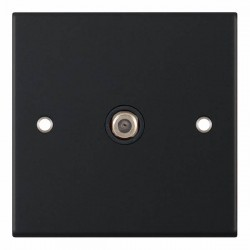 Selectric 5M Matt Black 1 Gang Satellite Socket with Black Insert