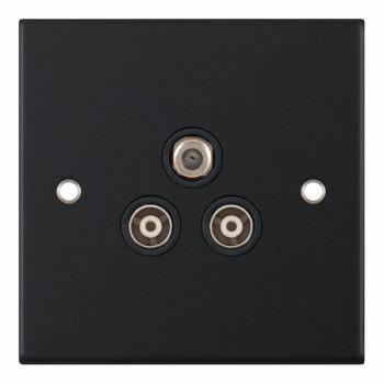 Selectric 5M Matt Black Triplex Sat/TV/FM Socket with Black Insert