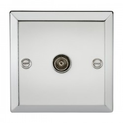Knightsbridge Decorative Bevel Edge Polished Chrome Non-Isolated TV Coaxial Outlet