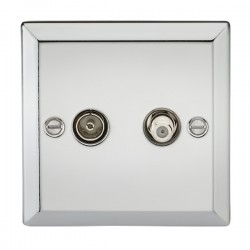 Knightsbridge Decorative Bevel Edge Polished Chrome Isolated SAT/TV Outlet