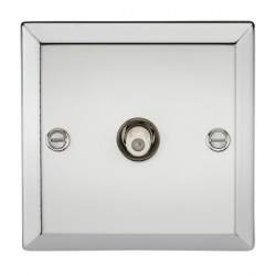 Knightsbridge Decorative Bevel Edge Polished Chrome Non-Isolated Satellite Outlet