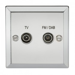Knightsbridge Decorative Bevel Edge Polished Chrome TV FM/DAB Screened Diplex Outlet