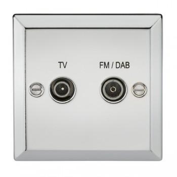Knightsbridge Decorative Bevel Edge Polished Chrome TV FM/DAB Screened Diplex Outlet