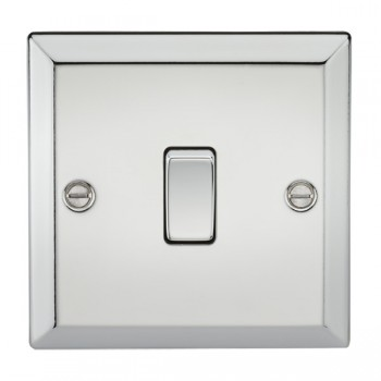 Knightsbridge Decorative Bevel Edge Polished Chrome 10A 1 Gang Intermediate Switch
