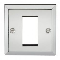 Knightsbridge Decorative Bevel Edge Polished Chrome 1 Gang Modular Plate