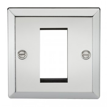 Knightsbridge Decorative Bevel Edge Polished Chrome 1 Gang Modular Plate