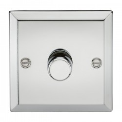 Knightsbridge Decorative Bevel Edge Polished Chrome 1 Gang 2 Way 10-200W Dimmer