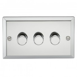 Knightsbridge Decorative Bevel Edge Polished Chrome 3 Gang 2 Way 10-200W Dimmer