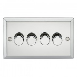Knightsbridge Decorative Bevel Edge Polished Chrome 4 Gang 2 Way 10-200W Dimmer