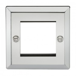 Knightsbridge Decorative Bevel Edge Polished Chrome 2 Gang Modular Plate