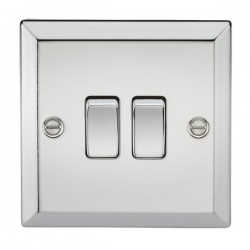 Knightsbridge Decorative Bevel Edge Polished Chrome 10A 2 Gang 2 Way Switch