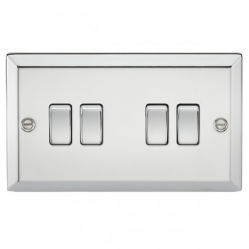 Knightsbridge Decorative Bevel Edge Polished Chrome 10A 4 Gang 2 Way Switch