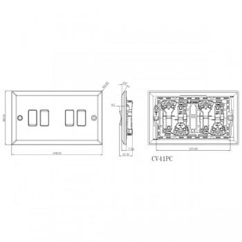Knightsbridge Decorative Bevel Edge Polished Chrome 10A 4 Gang 2 Way Switch