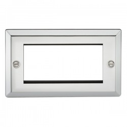Knightsbridge Decorative Bevel Edge Polished Chrome 4 Gang Modular Plate