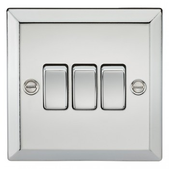 Knightsbridge Decorative Bevel Edge Polished Chrome 10A 3 Gang 2 Way Switch