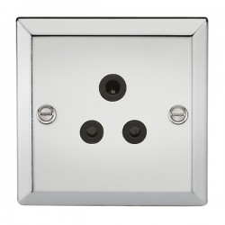 Knightsbridge Decorative Bevel Edge Polished Chrome 5A Round Pin Socket - Black Insert