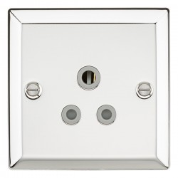 Knightsbridge Decorative Bevel Edge Polished Chrome 5A Round Pin Socket - Grey Insert