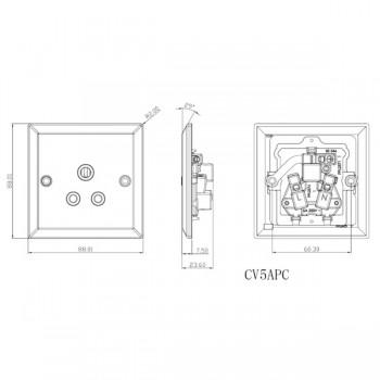 Knightsbridge Decorative Bevel Edge Polished Chrome 5A Round Pin Socket - Grey Insert