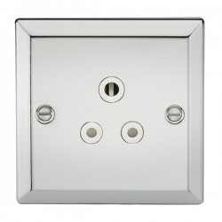 Knightsbridge Decorative Bevel Edge Polished Chrome 5A Round Pin Socket - White Insert