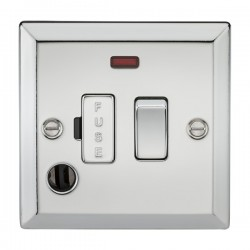 Knightsbridge Decorative Bevel Edge Polished Chrome 13A Switched Fused Spur Unit with Neon and Flex Outlet