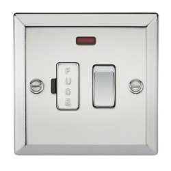 Knightsbridge Decorative Bevel Edge Polished Chrome 13A Switched Fused Spur Unit with Neon