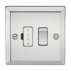 Knightsbridge Decorative Bevel Edge Polished Chrome 13A Switched Fused Spur Unit