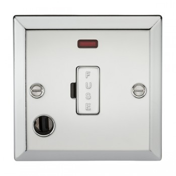 Knightsbridge Decorative Bevel Edge Polished Chrome 13A Fused Spur Unit with Neon and Flex Outlet