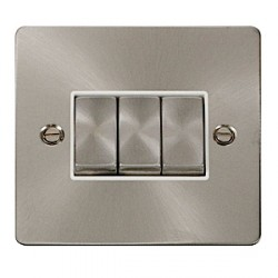 Click Define Brushed Steel Flat Plate Triple Light Switch with White Insert
