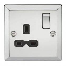 Knightsbridge Decorative Bevel Edge Polished Chrome 13A 1 Gang DP Switched Socket - Black Insert