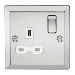 Knightsbridge Decorative Bevel Edge Polished Chrome 13A 1 Gang DP Switched Socket - White Insert