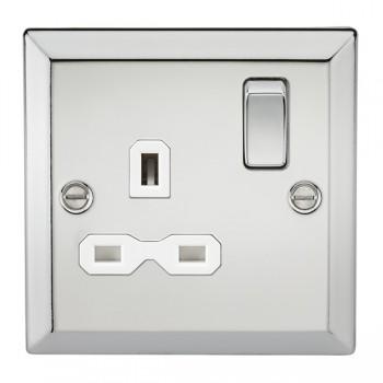 Knightsbridge Decorative Bevel Edge Polished Chrome 13A 1 Gang DP Switched Socket - White Insert