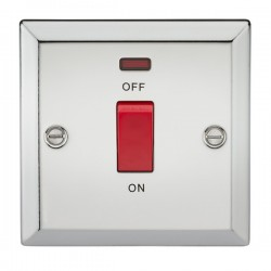 Knightsbridge Decorative Bevel Edge Polished Chrome 45A DP Switch with Neon (Single Plate)