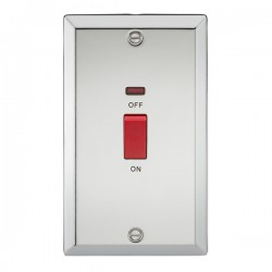 Knightsbridge Decorative Bevel Edge Polished Chrome 45A DP Switch with Neon (Double Plate)