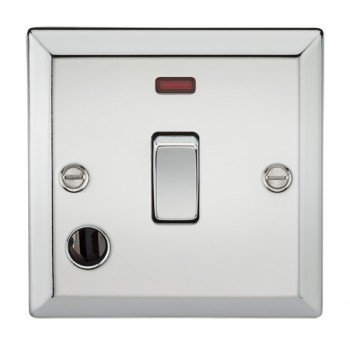 Knightsbridge Decorative Bevel Edge Polished Chrome 20A DP Switch with Neon and Flex Outlet