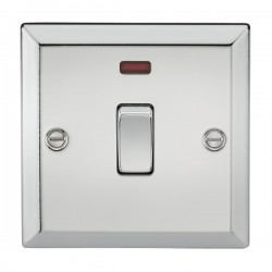 Knightsbridge Decorative Bevel Edge Polished Chrome 20A DP Switch with Neon