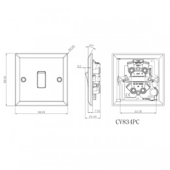 Knightsbridge Decorative Bevel Edge Polished Chrome 20A DP Switch