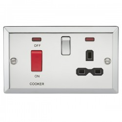 Knightsbridge Decorative Bevel Edge Polished Chrome 45A DP Switch and 13A Switched Socket with Neon - Black Insert