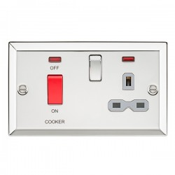 Knightsbridge Decorative Bevel Edge Polished Chrome 45A DP Switch and 13A Switched Socket with Neon - Grey Insert
