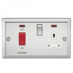 Knightsbridge Decorative Bevel Edge Polished Chrome 45A DP Switch and 13A Switched Socket with Neon - White Insert